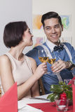Young smiling couple toasting with rose wine Stock Image
