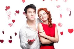 Young smiling couple on valentines day Royalty Free Stock Images