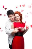 Young smiling couple on valentines day Royalty Free Stock Image