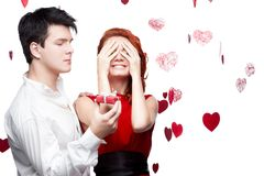Young smiling couple on valentines day Royalty Free Stock Photo