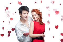 Young smiling couple on valentines day Stock Photos