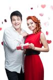 Young smiling couple on valentines day Stock Image