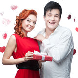 Young smiling couple on valentines day Royalty Free Stock Photos