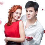 Young smiling couple on valentines day Stock Photography
