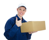 Young smiling courier Royalty Free Stock Photos