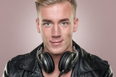 Young and smiling dj Royalty Free Stock Images