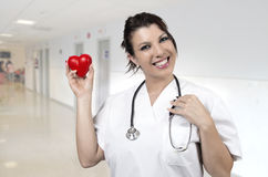 Young smiling doctor with small red heart Royalty Free Stock Photo