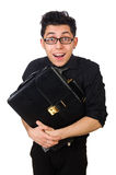 Young smiling employee with briefcase isolated on Royalty Free Stock Photography