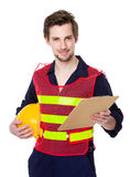 Young smiling engineer hold with file Stock Images