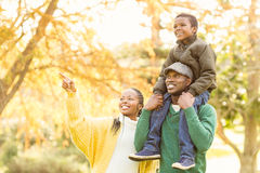 Young smiling family pointing something Royalty Free Stock Photography