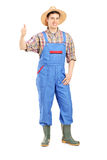 Young smiling farmer giving a thumb up Royalty Free Stock Photos