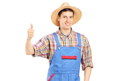 Young smiling farmer giving a thumb up Stock Photos