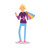 Young smiling fashionable blond girl standing with shopping bags cartoon character vector Illustration Royalty Free Stock Image
