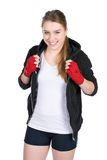 Young smiling female boxer Stock Images