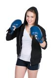 Young smiling female boxer Royalty Free Stock Photos