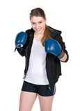 Young smiling female boxer Royalty Free Stock Photo