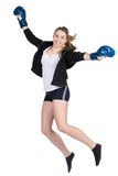 Young smiling female boxeris jumping Stock Images