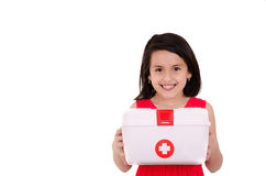 Young smiling female carrying a portable first aid Stock Image
