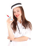 Young smiling female nurse with syringe Royalty Free Stock Photo