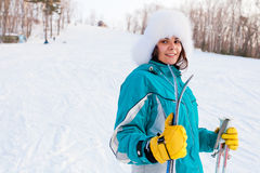 Young smiling female on a ski resort Royalty Free Stock Images
