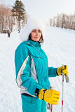 Young smiling female on a ski resort Royalty Free Stock Photos