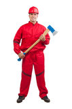 Young smiling fireman with hard hat with ax Stock Photo