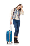 Young smiling girl with bag isolated on the white Royalty Free Stock Images