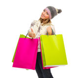 Young smiling girl with bags Royalty Free Stock Photo