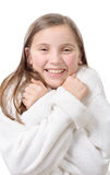 Young smiling girl with bathrobe,  on white background Royalty Free Stock Image