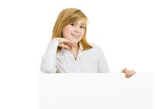 Young smiling girl with brackets and billboard Royalty Free Stock Images