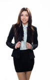 Young smiling girl in business clothes isolated on white Stock Photo