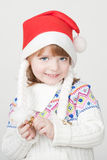 Young smiling girl with Christmas cup Stock Photos