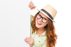 Young smiling girl in glasses with a poster Stock Images