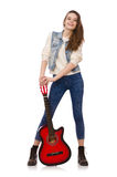 Young smiling girl with guitar isolated on white Stock Image