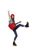 Young smiling girl with guitar isolated on white Royalty Free Stock Images