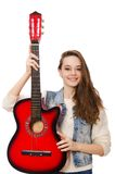 Young smiling girl with guitar isolated on white Royalty Free Stock Photography