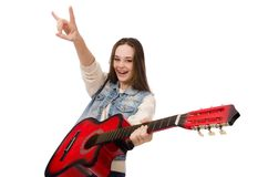 Young smiling girl with guitar isolated on the Royalty Free Stock Images