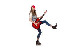Young smiling girl with guitar isolated on the Stock Photo