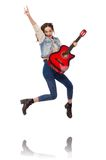 Young smiling girl with guitar isolated on the Royalty Free Stock Photography