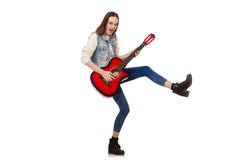 Young smiling girl with guitar isolated on the Royalty Free Stock Photos
