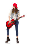 Young smiling girl with guitar isolated on the Stock Photos