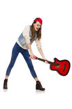 Young smiling girl with guitar isolated on white Royalty Free Stock Photo