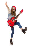 Young smiling girl with guitar isolated on white Royalty Free Stock Photos