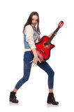 Young smiling girl with guitar Stock Photos