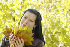 Young smiling girl holds autumn leaves Stock Photos