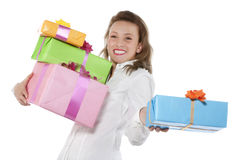 Young smiling girl with present Stock Photo