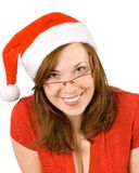 Young smiling girl with santa hat Stock Photography