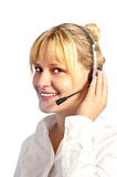 Young smiling girl working in a call center Royalty Free Stock Photography