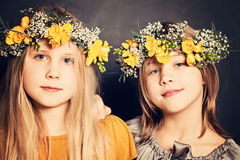 Young Smiling Girls Sisters Stock Image
