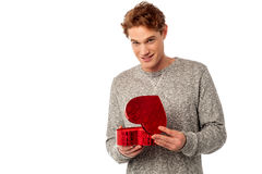 Young smiling guy holding gift box royalty free stock photography